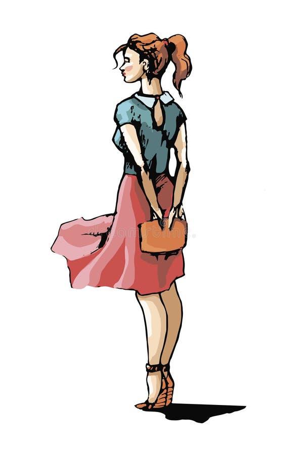 härligt skirtkvinnabarn stock illustrationer
