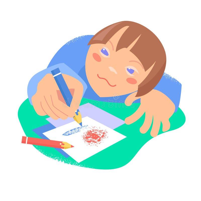 Härligt skissa det svarta kortet barn som tecknar husberg vektor Down Syndrome begrepp vektor illustrationer