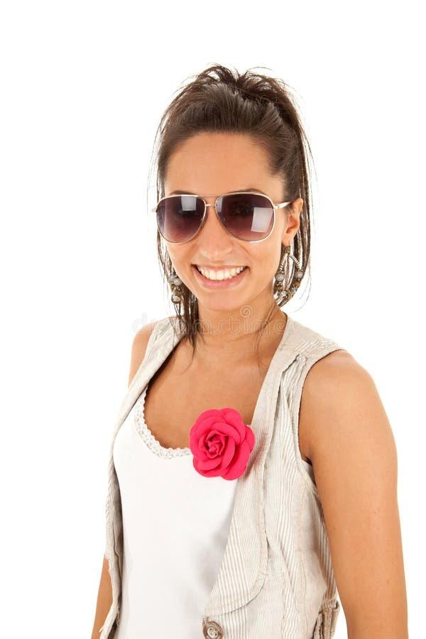 härligt solglasögonkvinnabarn royaltyfria bilder