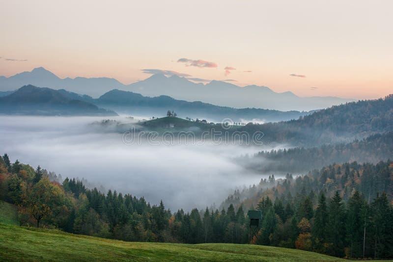 Härligt soluppgånglandskap av helgonet Thomas Church i Slovenien på bergstoppet i morgondimman royaltyfria foton