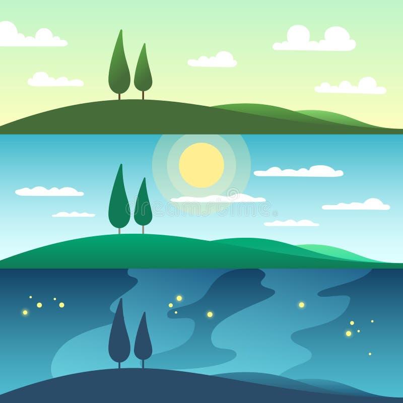 Härligt sommarlandskap i olika tider av dagen den främmande tecknad filmkatten flyr illustrationtakvektorn vektor illustrationer
