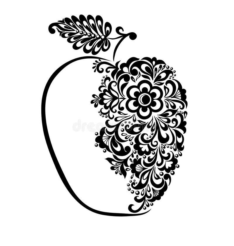 Härligt svartvitt äpple som dekoreras med den blom- modellen. stock illustrationer