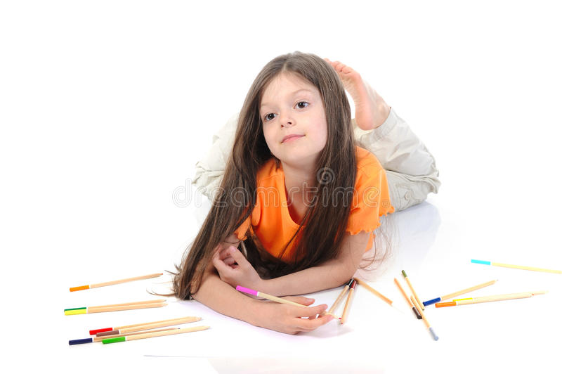 härligt tecknar lilla blyertspennor för flickan arkivfoto