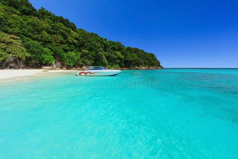 Härligt tropiskt Andaman hav med stranden och blå himmel royaltyfri foto
