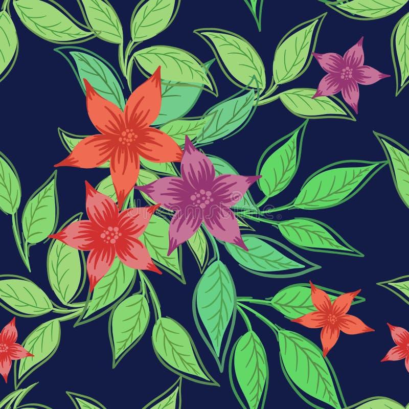 Härligt tryck med blommor och sidor royaltyfri illustrationer