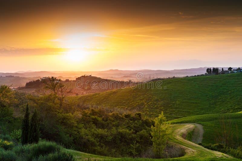 Härligt Tuscany landskap på solnedgången, Italien royaltyfria foton