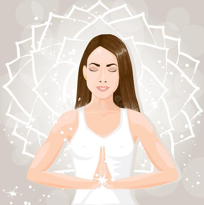 Meditera för kvinna stock illustrationer