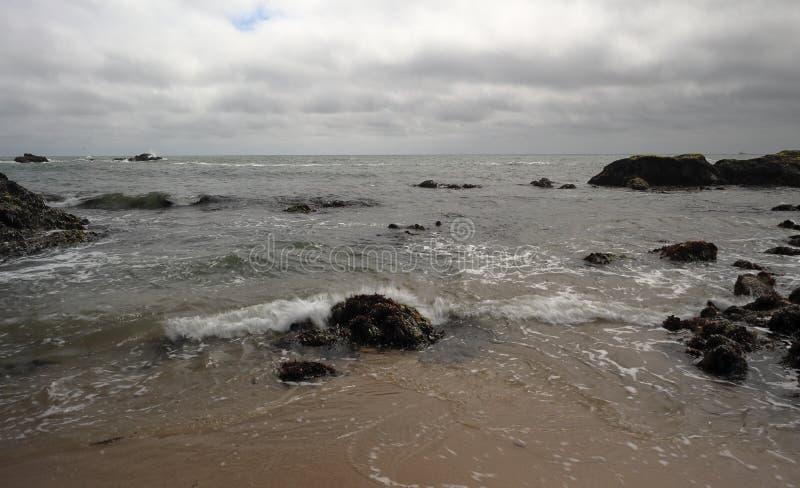 Härligt vaggar bildande på Stilla havet nära Half Moon Bayen arkivbilder