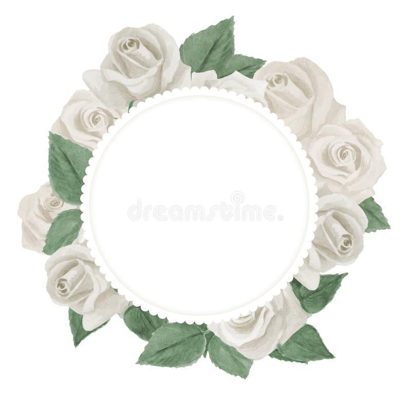 Härligt vattenfärgkort med vita rosor bakgrundskortet blommar reng?ringsduk f?r tappning f?r h?lsningssidamall universal royaltyfri illustrationer