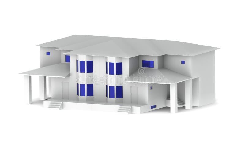 Härligt vitt hus med blåa fönster på en vit bakgrund royaltyfri fotografi