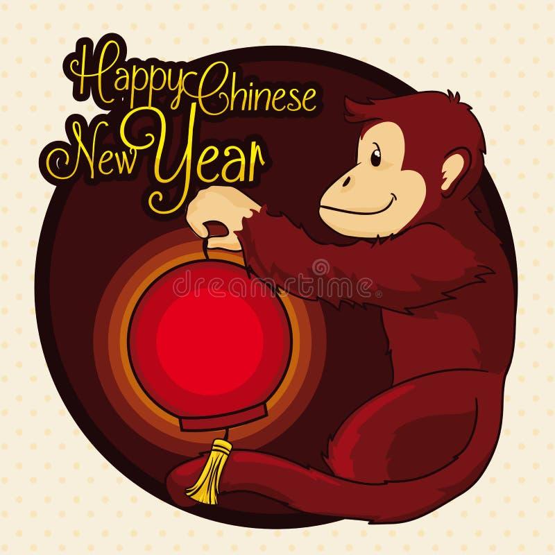 Härma att rymma en traditionell lykta från det kinesiska nya året, vektorillustration stock illustrationer