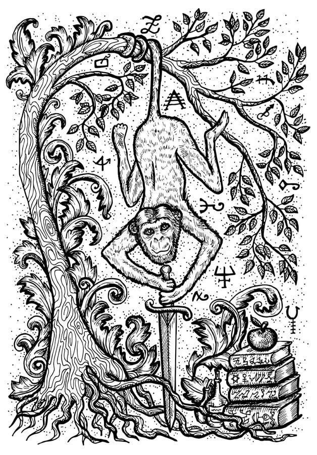 Härma symbolet med svärdet, böcker, det barock dekorerat trädet och mystikertecken stock illustrationer