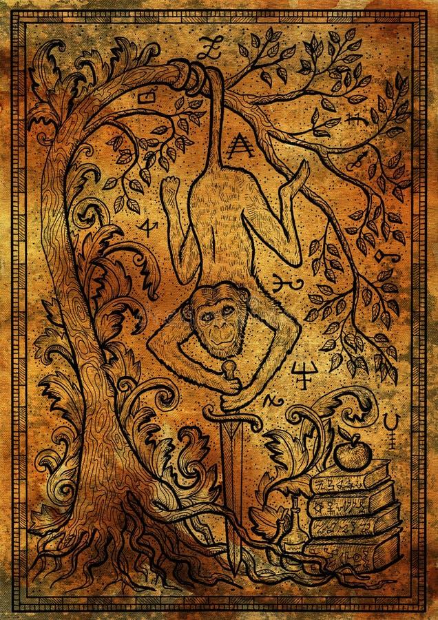 Härma symbolet med svärdet, böcker, det barock dekorerat trädet och mystikertecken på antik texturbakgrund stock illustrationer