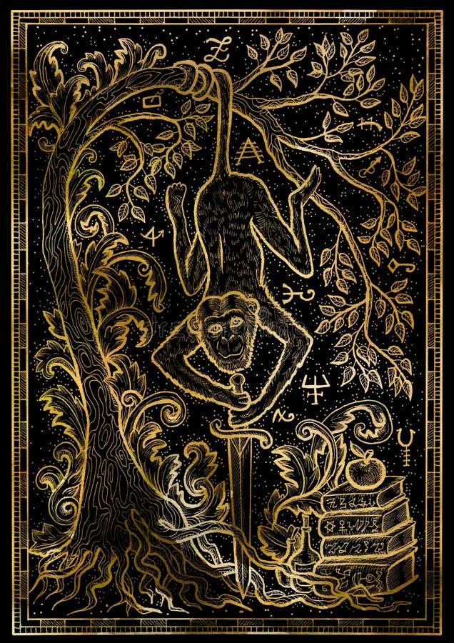 Härma symbolet med svärdet, böcker, det barock dekorerat trädet och mystikertecken på svart texturbakgrund stock illustrationer