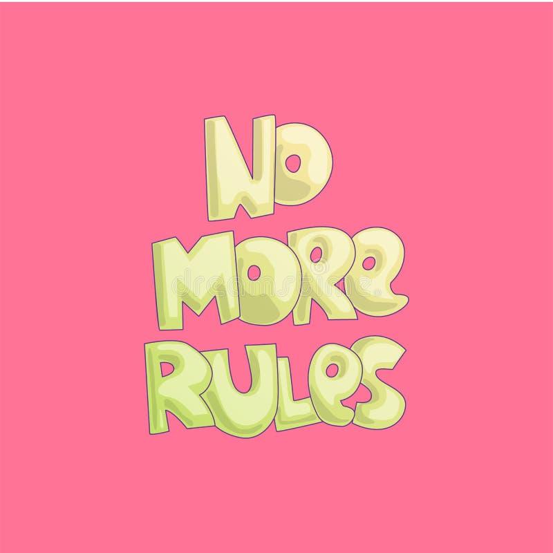 Härskar inte mer gullig tecknad filmbokstäver på ljus rosa bakgrund Feministisk bokstäver för liten flicka om fritt liv, liv vektor illustrationer