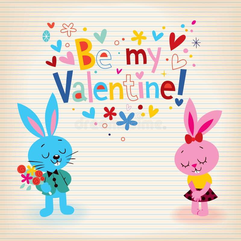 Häschen in der Liebe Valentinstagkarte lizenzfreie abbildung