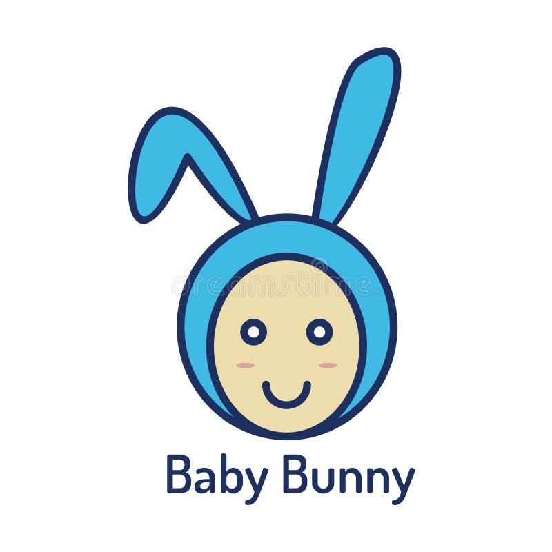 Häschenlogo des blauen Babys für Babyshop stock abbildung