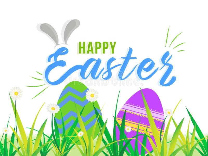 Häschenohrillustration mit bunten Ostereiern versteckt im Gras auf weißem Hintergrund für fröhliche Ostern stock abbildung