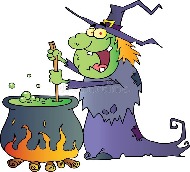 Hässliche Halloween-Hexe, die einen Trank zubereitet stock abbildung