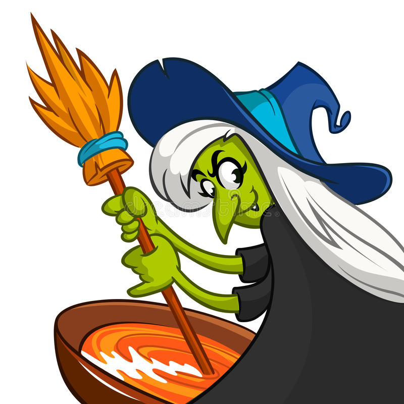 Hässliche Halloween-Hexe, die einen Trank zubereitet Vector Illustration einer Karikaturhexe, die ihr gespenstisches Gebräu rührt lizenzfreie abbildung