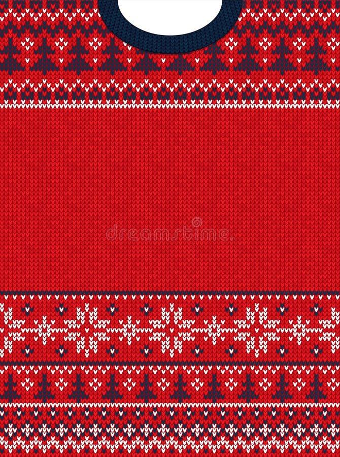 Hässliche Strickjacke Grußkartenrahmengrenze froher Weihnachten und guten Rutsch ins Neue Jahr Gestrickter Hintergrund des Vektor vektor abbildung