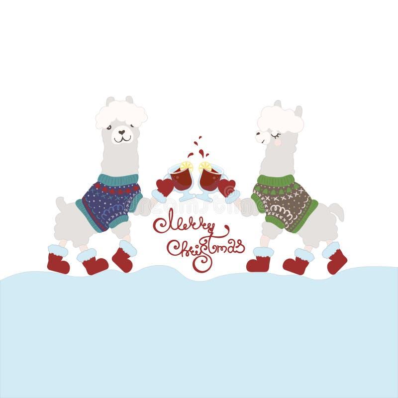 Hässliche Strickjacken-Partei-Einladungsschablone Glückliche Lamas, die Glühwein trinken stock abbildung