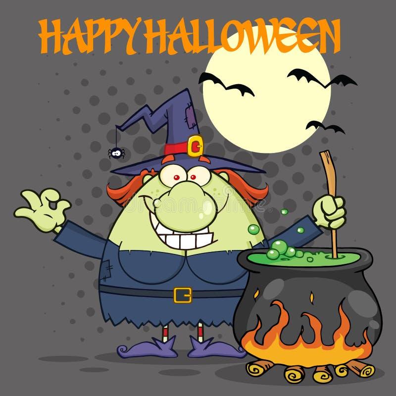 Hässlicher Halloween-Hexen-Karikatur-Maskottchen-Charakter, der einen Trank in einem großen Kessel zubereitet vektor abbildung