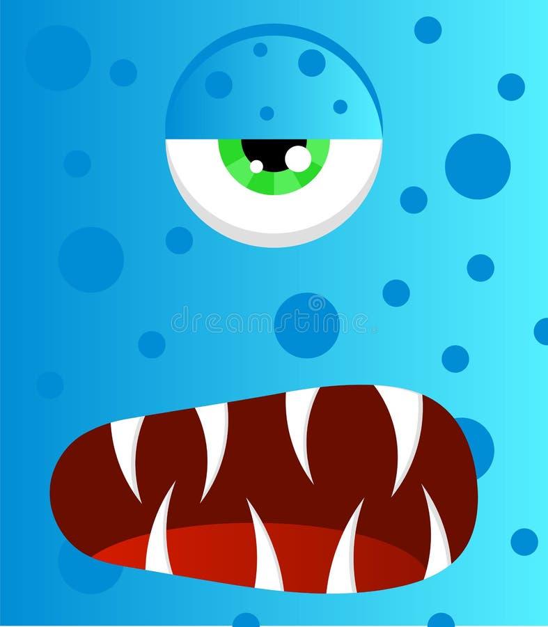 Hässliches furchtsames blaues Monster mit Pickeln und langen scharfen Reißzähnen lizenzfreie abbildung