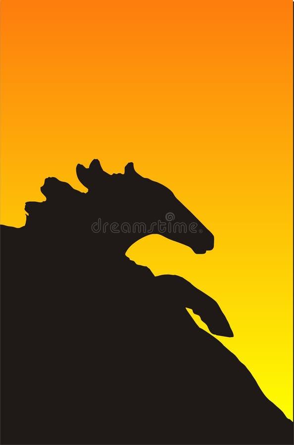 häst av stampedingsolnedgång royaltyfri illustrationer