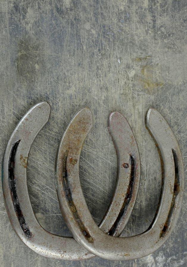 Häst- dem med gamla slitna hästskor på en skrapad och skadad stålbakgrund Massor av textur med kopieringsutrymme royaltyfri foto