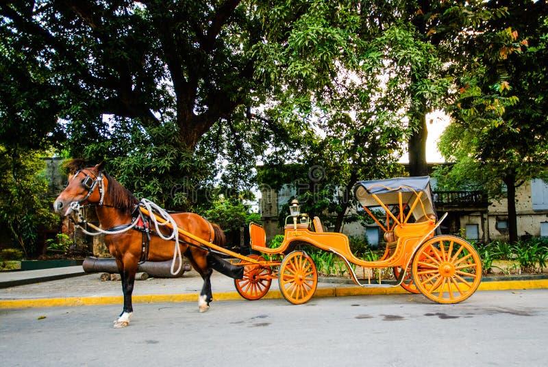 Häst dragen vagn framme av Intramuros, Manila, Filippinerna royaltyfria bilder