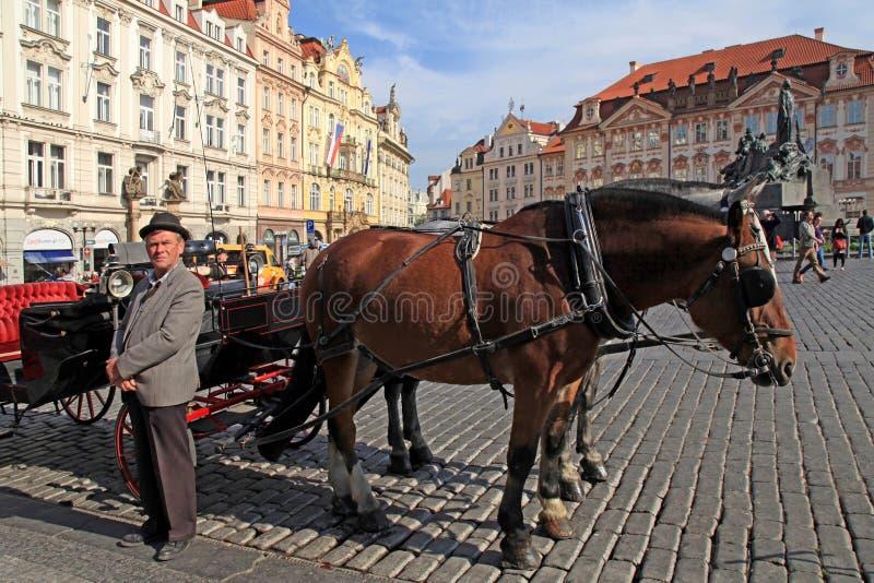 Häst dragen vagn på gammal stadfyrkant i Prague, tjeckiska Republi royaltyfri fotografi