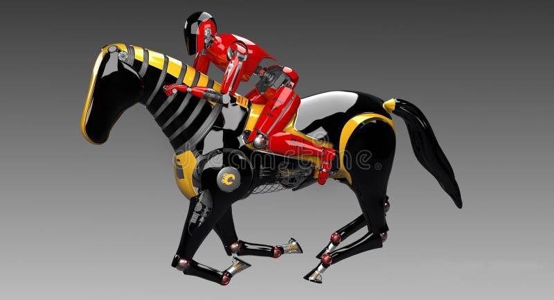 Häst för Droid ridningrobot royaltyfri illustrationer