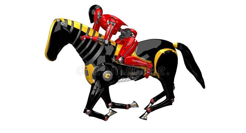 Häst för Droid ridningrobot på vit bakgrund arkivfoto