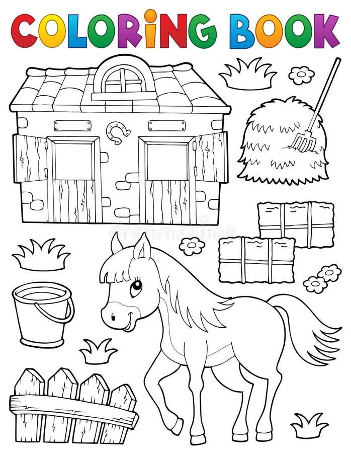 Häst för färgläggningbok och släkta objekt stock illustrationer