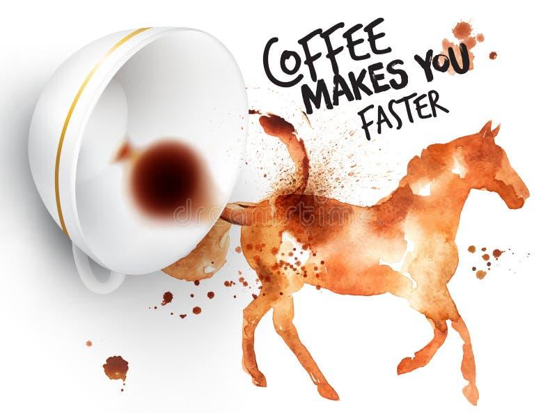 Häst för löst kaffe för affisch royaltyfri illustrationer