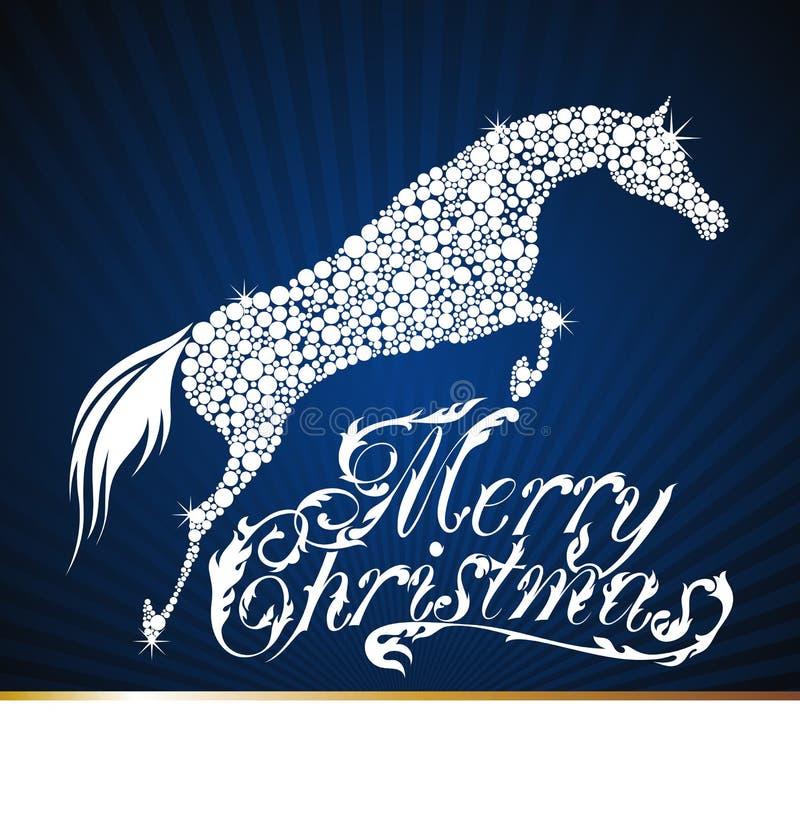 Häst. Glad jul 2014 stock illustrationer
