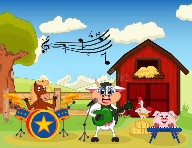 Häst, ko, svin och höna som spelar musik på lantgården royaltyfri illustrationer