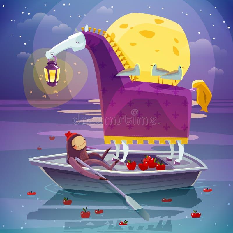 Häst med den overkliga dröm- affischen för lykta royaltyfri illustrationer