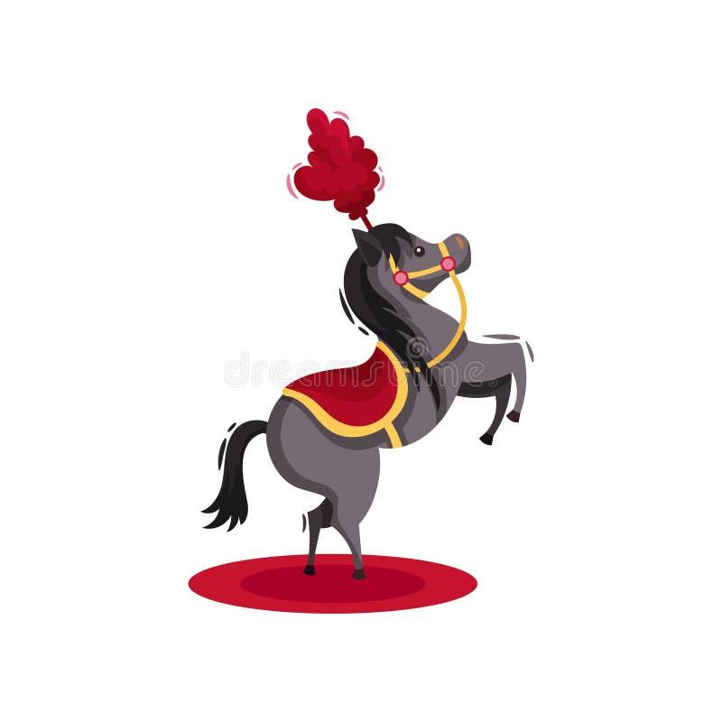 Häst med den röda sadeln och fjädrar på huvudet som står på bakre ben Kapacitet för cirkusdjur Plan vektordesign stock illustrationer