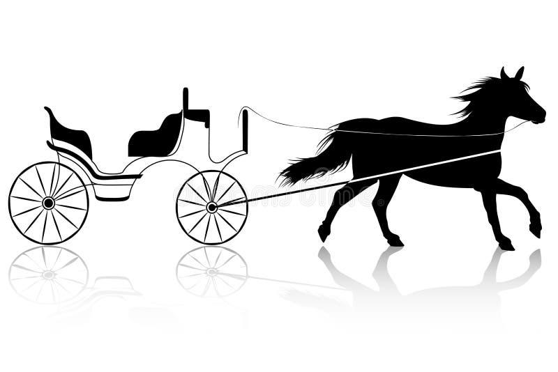 Häst med den Retro vagnen för att gifta sig royaltyfri illustrationer