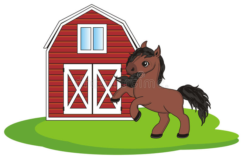Häst med hans hus stock illustrationer
