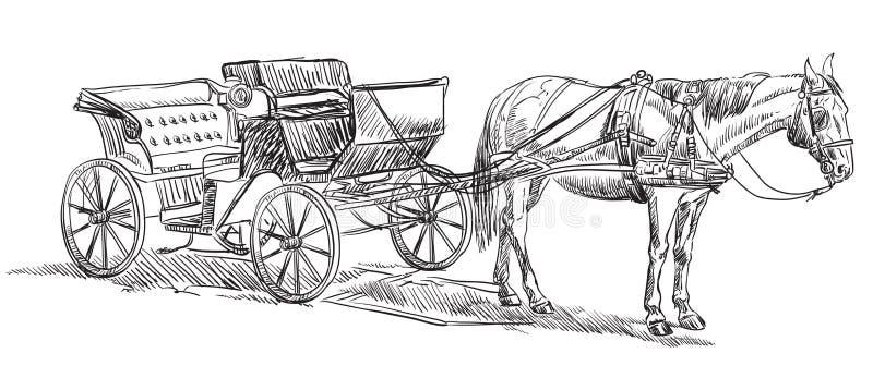 Häst med vagnen stock illustrationer