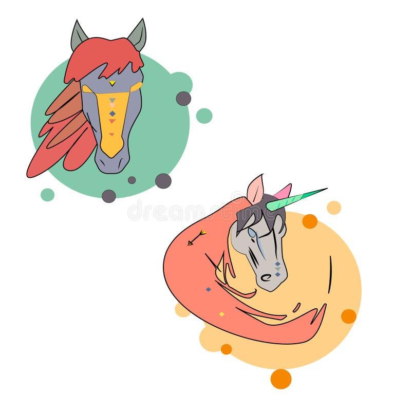 Häst- och enhörninglogo vektor illustrationer