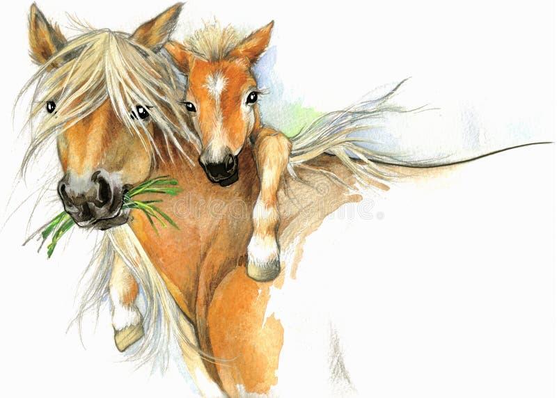Häst- och fölmoderskap bakgrundshälsningsillustration vektor illustrationer