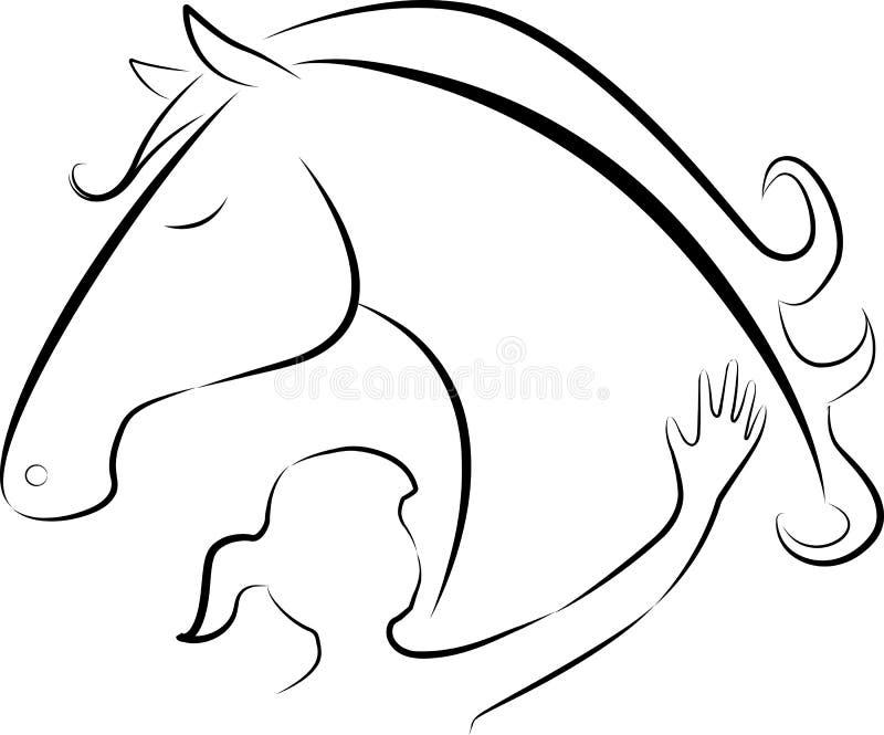Häst och flicka stock illustrationer