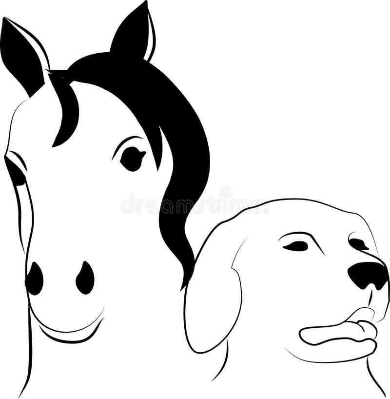 Häst- och hundhuvud vektor illustrationer