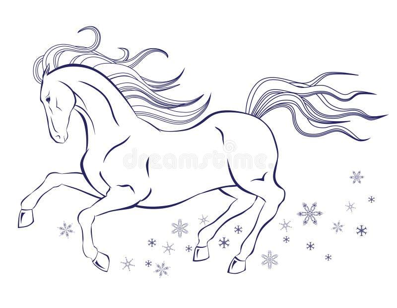 Häst och snöflingor fotografering för bildbyråer