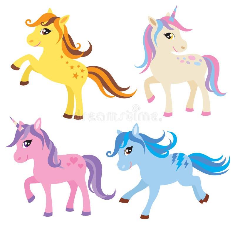 Häst, ponny och Unicorn Set stock illustrationer