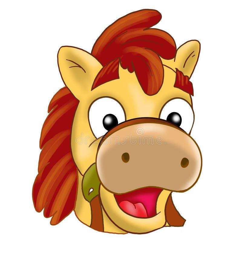 Häst ponnymaskering, karneval, barns händelser, tecknad film stock illustrationer